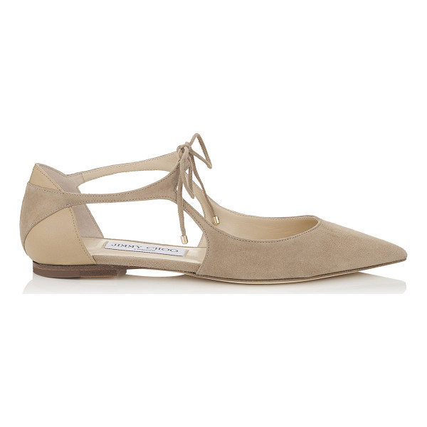 JIMMY CHOO VANESSA FLAT Nude Suede and Nappa Pointy Toe Flats - Vanessa is a classic pointy toe pump with a modern,...