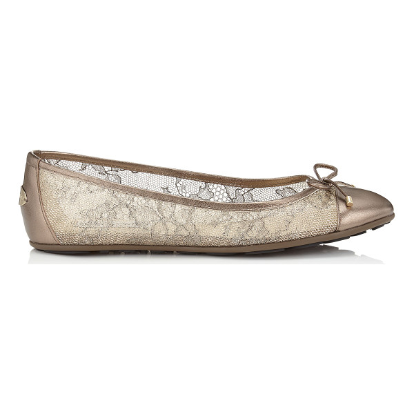 JIMMY CHOO Waltz light honey metallic lace and metallic nappa ballet flats - A classic ballet flat will add a chic touch to any outfit....