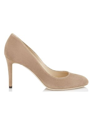JIMMY CHOO Bridget 85 Ballet Pink Suede Round Toe Pumps