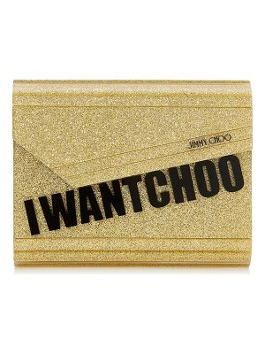 JIMMY CHOO Candy Gold I Want Choo Glitter Acrylic Clutch Bag