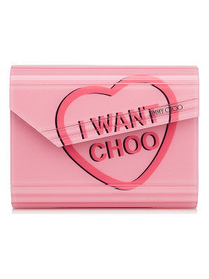 Jimmy Choo CANDY Love Heart Acrylic 'I WANT CHOO' Clutch Bag