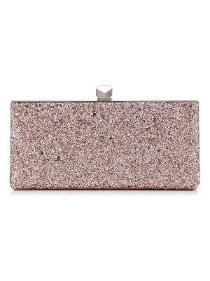 Jimmy Choo CELESTE/S Tea Rose Metallic Coarse Glitter Fabric Clutch Bag with Cube Clasp