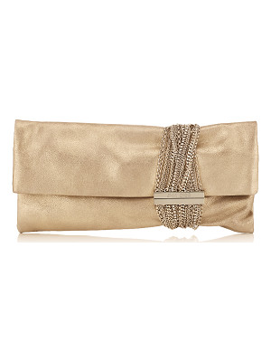 Jimmy Choo CHANDRA Gold Shimmer Suede Clutch Bag