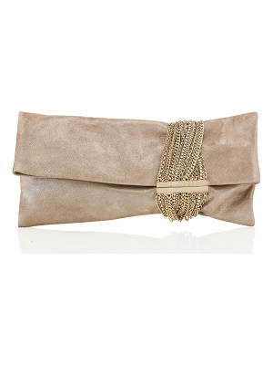 Jimmy Choo CHANDRA Sand Shimmer Suede Clutch Bag