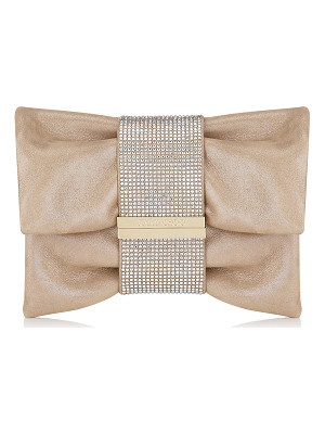Jimmy Choo CHANDRA/S Sand Shimmer Suede Clutch Bag with Hotfix Crystal Bracelet