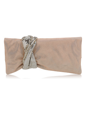 Jimmy Choo CHANDRA Sand Shimmer Suede Clutch Bag with Chainmail Bracelet