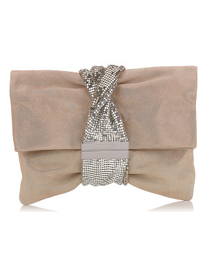 Jimmy Choo CHANDRA/M Sand Shimmer Suede Clutch Bag with Chainmail Bracelet