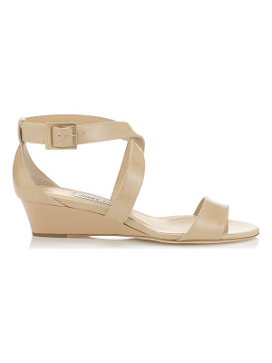 Jimmy Choo CHIARA Nude Patent Leather Wedge Sandals