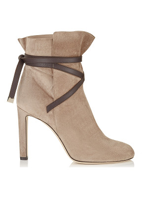 JIMMY CHOO Dalal 100 Light Mocha Cashmere Suede Ankle Booties With Dark Brown Leather Strap Detail