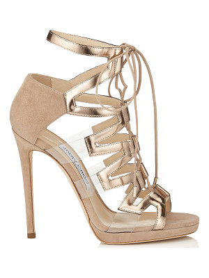Jimmy Choo DANI 120 Nude Suede, Mirror Leather and Perspex Sandals
