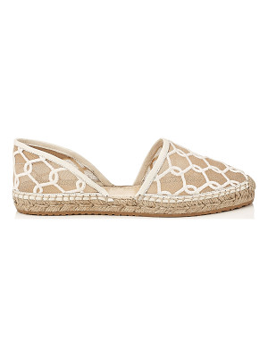 Jimmy Choo DREYA Latte Chain Embroidered Lace Espadrille