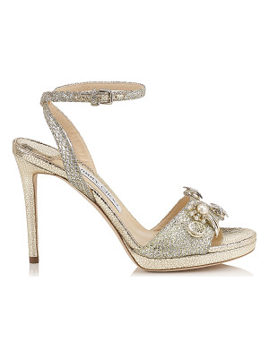 JIMMY CHOO Electra 100 Champagne Glitter Fabric Sandals With Jewelled Buttons