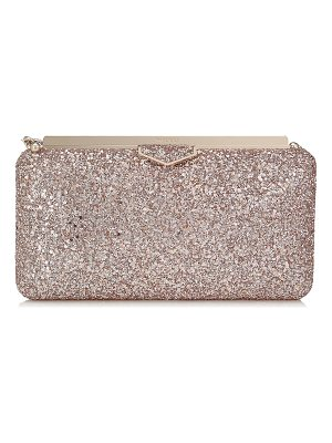 JIMMY CHOO Ellipse Ballet Pink Shadow Coarse Glitter Fabric Clutch Bag
