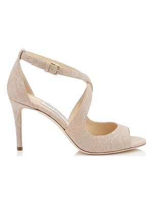 Jimmy Choo EMILY 85 Nude Metallic Embossed Lamé Leather Sandals