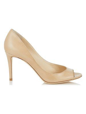 JIMMY CHOO Evelyn 85 Nude Patent Leather Peep Toe Pumps