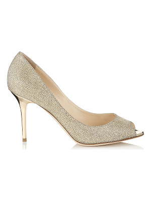 Jimmy Choo EVELYN Gold Lamé Glitter Peep Toe Pumps
