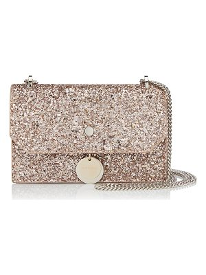 JIMMY CHOO Finley Ballet Pink Shadow Coarse Glitter Fabric Cross Body Mini Bag