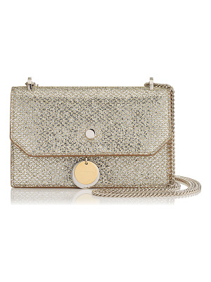 Jimmy Choo FINLEY Champagne Glitter Fabric Cross Body Mini Bag