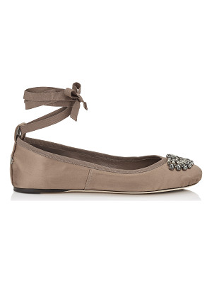 JIMMY CHOO Grace Flat Light Mocha Satin And Grosgrain Ribbon Ballerina Flats