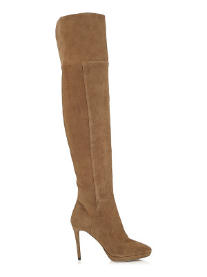 JIMMY CHOO Hayley 100 Khaki Brown Suede Over-The-Knee Boots