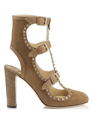 Jimmy Choo HENSLEY 100 Hazel Suede and Vachetta leather Booties with Studs