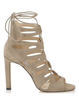 JIMMY CHOO Hitch 100 Light Mocha Suede Strappy Sandals