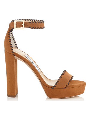 Jimmy Choo HOLLY 120 Canyon Suede and Brown Nappa Platform Sandals