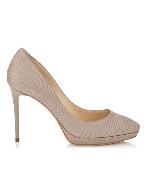 Jimmy Choo HOPE 100 Nude Glitter Printed Leather Round Toe Platform Pumps