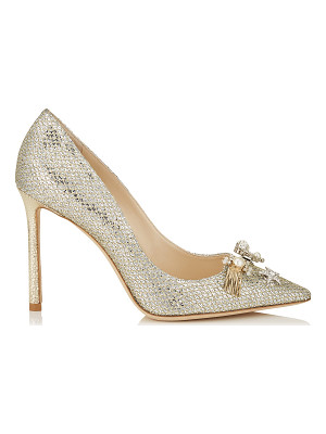 Jimmy Choo JASMINE 100 Champagne Glitter Fabric Pointy Toe Pumps with Jewelled Buttons