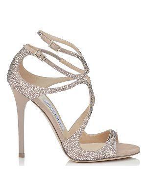 JIMMY CHOO Lance Ballet Pink Suede Sandals With Hotfix Crystals