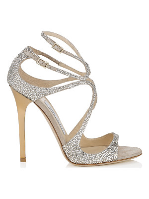 JIMMY CHOO Lance Nude Suede Sandals With Crystals