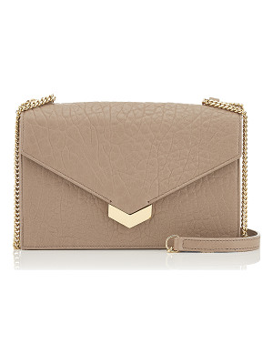 JIMMY CHOO Leila Light Mocha Grainy Leather Mini Cross Body Bag