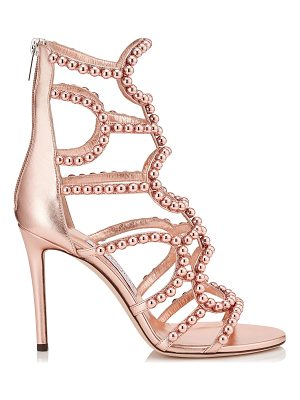 Jimmy Choo LEJA 100 Tea Rose and Copper Metallic Nappa with Beads Sandals