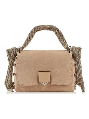 Jimmy Choo LOCKETT MINI Nude Suede Bag with Mesh Strap