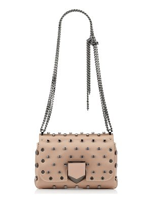 JIMMY CHOO Lockett Petite Ballet Pink Satin Shoulder Bag With Polka Dot Studs