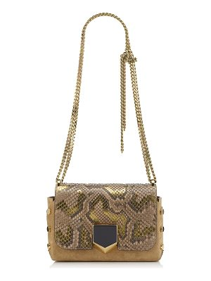 Jimmy Choo LOCKETT PETITE Hazel Suede Shoulder Bag with Metalised Python