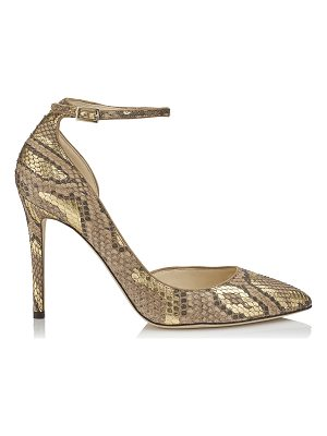 JIMMY CHOO Lucy 100 Hazel And Gold Pointy Toe Metalised Python Pumps