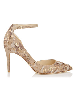 Jimmy Choo LUCY 85 Nude Floral Embroidery on Suede Pointy Toe Pumps