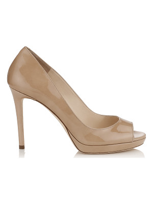 JIMMY CHOO Luna 100 Nude Patent Leather Peep Toe Platform Pumps