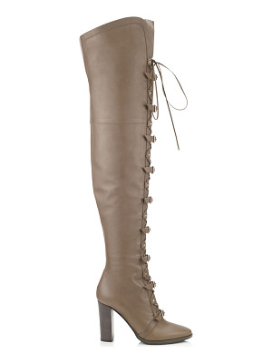 JIMMY CHOO Maloy 95 Taupe Grey Leather Over-The-Knee Boots