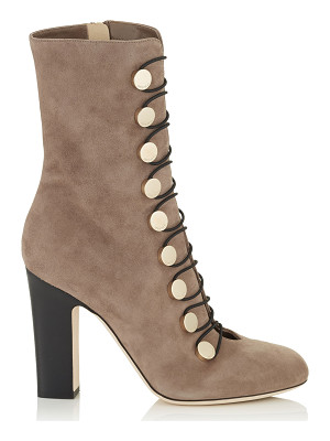 JIMMY CHOO Malta 100 Light Mocha Suede Ankle Boots