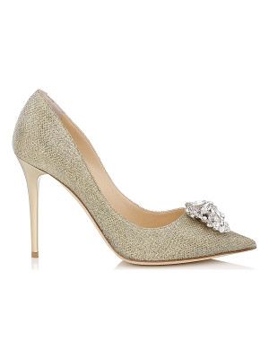 Jimmy Choo MANDA Gold Lamé Glitter Pumps with Crystal Detail