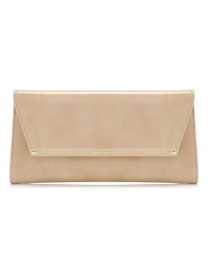 JIMMY CHOO Margot Nude Patent And Suede Clutch Bag