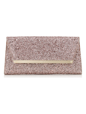 Jimmy Choo MARGOT Tea Rose Metallic Coarse Glitter Fabric Accessory Clutch Bag