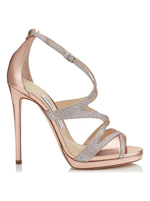 JIMMY CHOO Marianne 120 Tea Rose Mirror Leather And Fine Glitter Sandals.