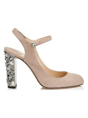 JIMMY CHOO Meagan 100 Ballet Pink Suede Round Toe Pumps With Metallic Embellished Heels