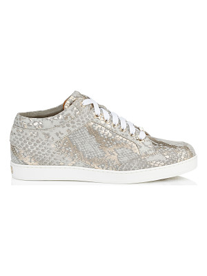 Jimmy Choo MIAMI Light Khaki Metallic Printed Suede Low Top Trainers