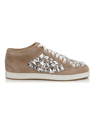 JIMMY CHOO Miami Nude Suede With Crystals Low Top Trainers