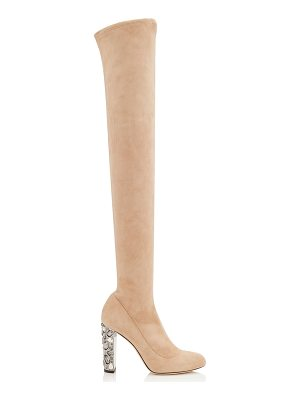 Jimmy Choo MYA 100 Ballet Pink Stretch Suede Over The Knee Boots with Metallic Embellished Heel