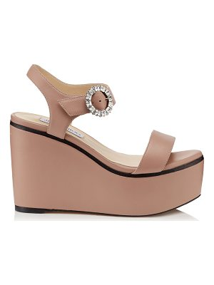 Jimmy Choo NYLAH 100 Ballet Pink Nappa Leather Wedge Sandals with Crystal Buckle